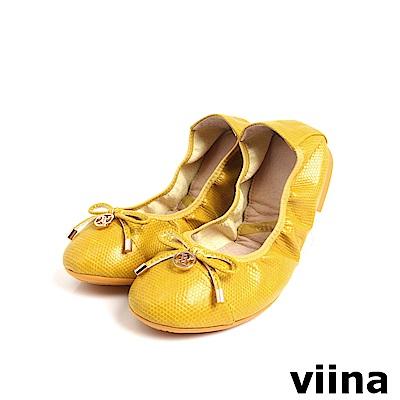 viina 質感壓紋小蝴蝶結摺疊鞋MIT-黃色