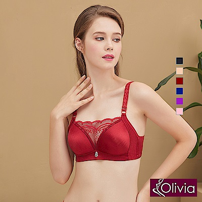 Olivia 無鋼圈無痕拉絲集中低脊心防走光蕾絲內衣-酒紅