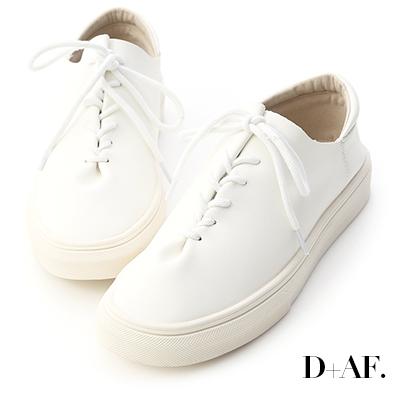 D+AF 愜意好穿.超軟皮革綁帶休閒鞋*白
