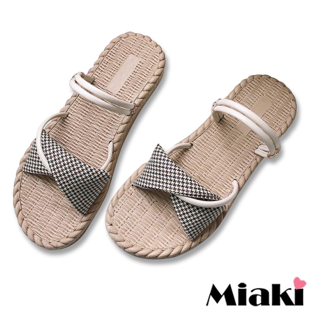 Miaki-涼鞋可愛韓風2穿休閒拖鞋-米