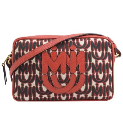 MIU MIU LOGO織布可愛皮革LOGO斜背相機包(紅)