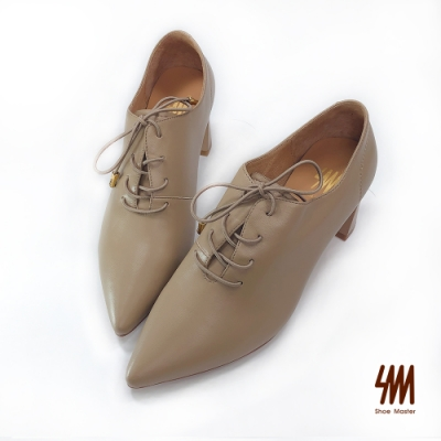 SM-韓風英倫時尚尖頭梯形鞋(奶茶棕)