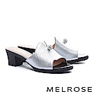 拖鞋 MELROSE 時髦晶鑽飾釦球啞光牛皮粗高跟拖鞋-銀
