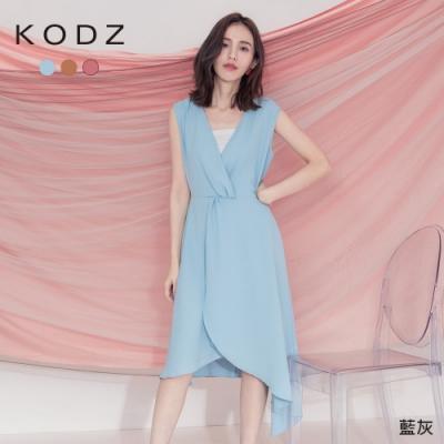 東京著衣-KODZ 優雅氣質V領無袖多色不規則洋裝-S.M.L