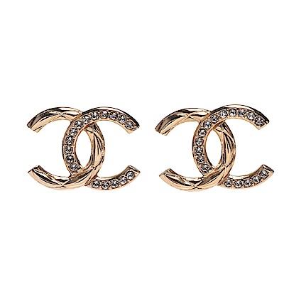 CHANEL 經典大CC LOGO水鑽鑲飾造型穿式耳環(金色)