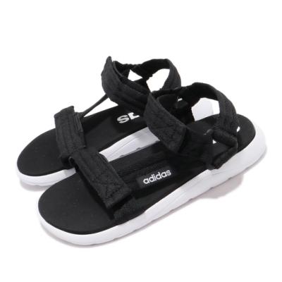 adidas 涼拖鞋 Comfort Sandal K 女鞋 愛迪達 魔鬼氈 夏日 涼爽 穿搭 中大童 黑 白 FV8806