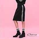 OUWEY歐薇 柔軟撞色線條針織A字裙(黑)