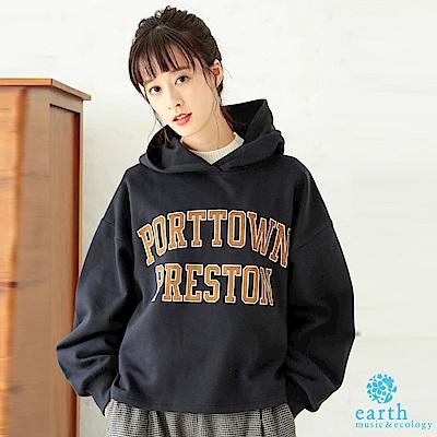 earth music 大學感標語連帽T恤