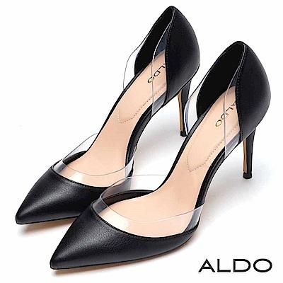 ALDO 原色佐流線透明擋片尖頭細高跟鞋~尊爵黑色
