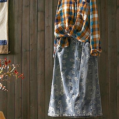 磨毛花瓣寬鬆牛仔裙中長版鬆緊腰-設計所在