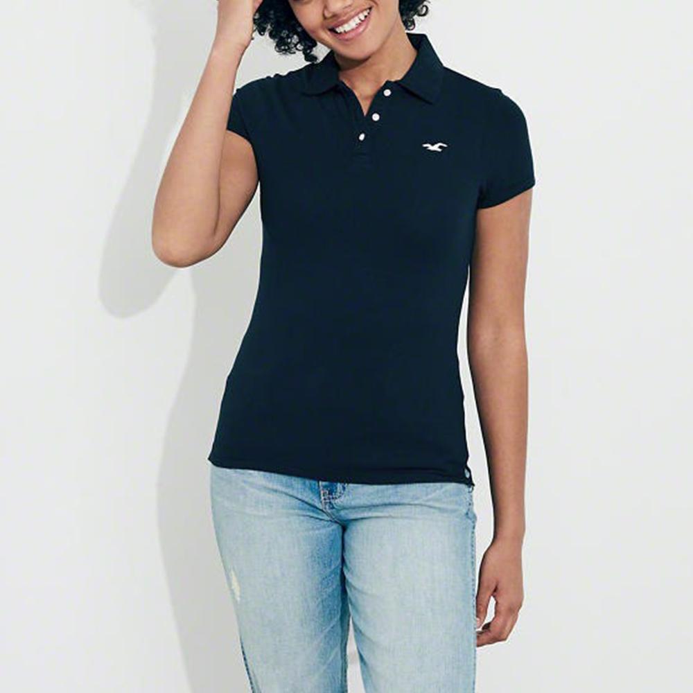 HCO Hollister 海鷗 經典海鷗刺繡標誌短袖Polo衫(女)-深藍色