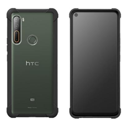 HTC U20 5G 原廠透視雙料防震邊框殼【黑】