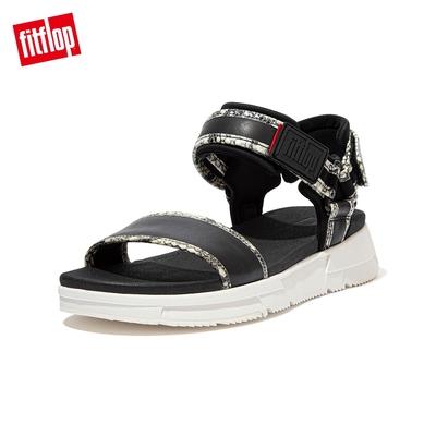 FitFlop HEDA SNAKE TRIM BACK-STRAP SANDALS 運動風後帶涼鞋 女(黑色/蛇紋)