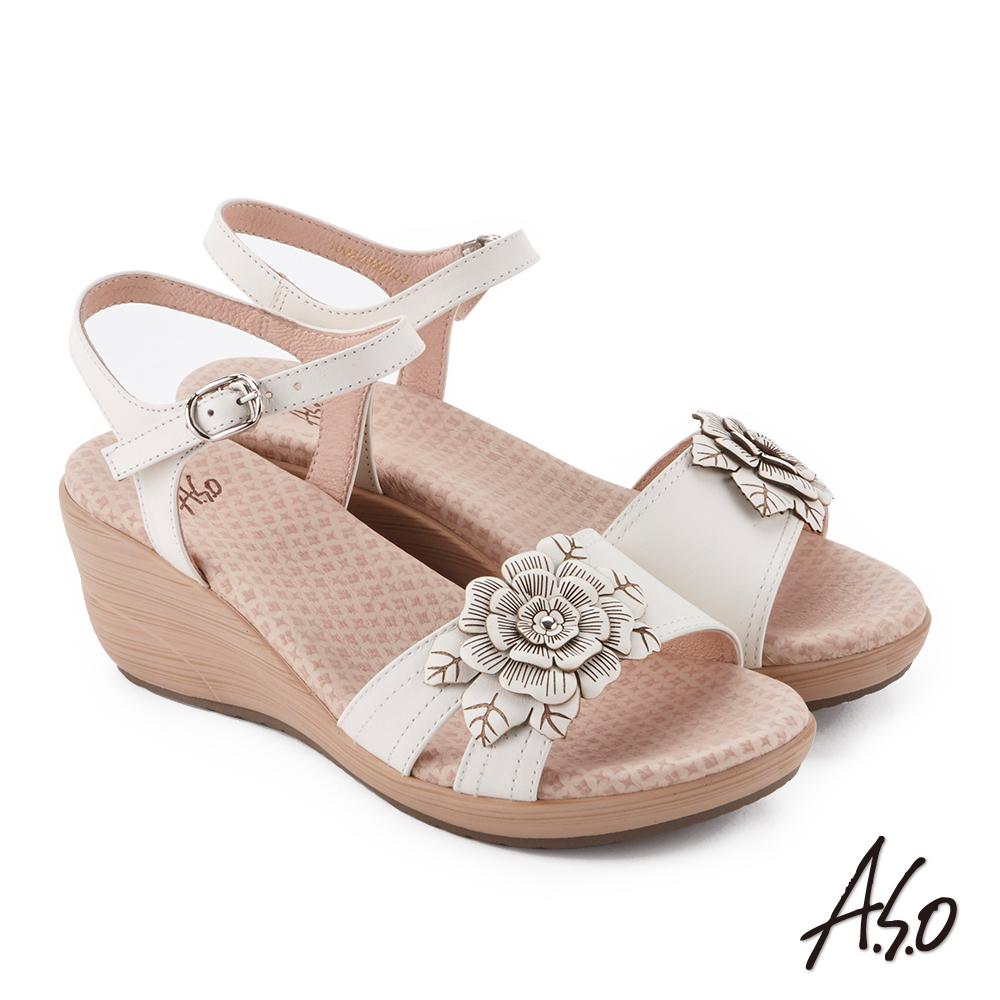 A.S.O 挺麗氣墊 立體花卉全真皮抗菌奈米鞋墊楔型涼鞋 白