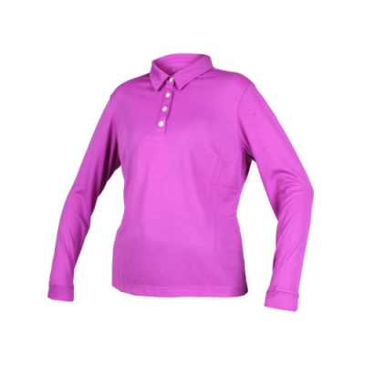WILDLAND 女疏水紗長POLO衫長袖上衣-慢跑 路跑 高爾夫 葡萄紫