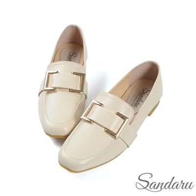 山打努SANDARU-紳士鞋 精緻方釦皮革方頭鞋-米
