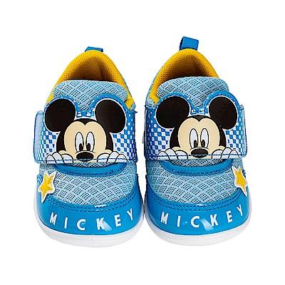 迪士尼童鞋 米奇 輕量魔鬼氈學步鞋-藍