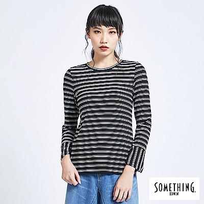SOMETHING 亞維儂 條紋喇叭袖T恤-女-黑色