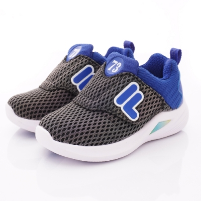 FILA頂級童鞋 反光輕量運動款 EI52T-033黑藍(中小童段)