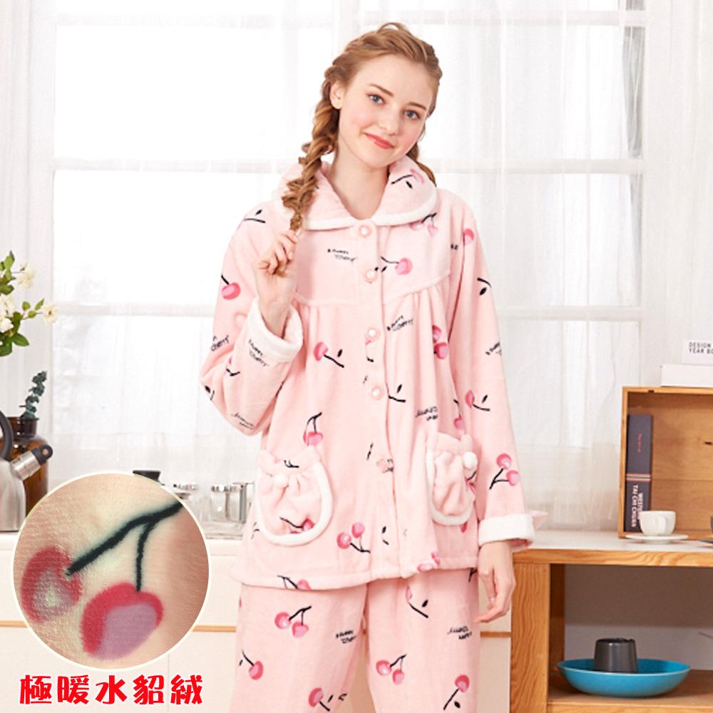 睡衣 櫻桃甜心 極暖高克重超柔軟水貂絨兩件式睡衣 (R77226-2粉)蕾妮塔塔