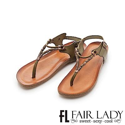 Fair Lady PORRONET 金屬串飾皮革夾腳涼拖鞋 綠
