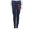 BLUGIRL 玫瑰刺繡圖騰深藍色直筒牛仔褲