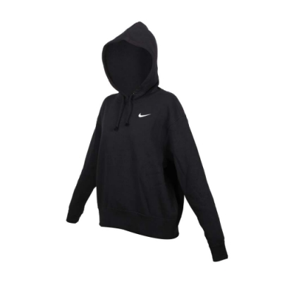 NIKE 女寬鬆長袖連帽T恤-慢跑 刷毛 保暖 休閒 帽T 上衣 CZ2591-010 黑白