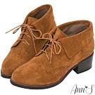 Ann'S小精靈-防水絨布反摺綁帶粗跟短靴-棕