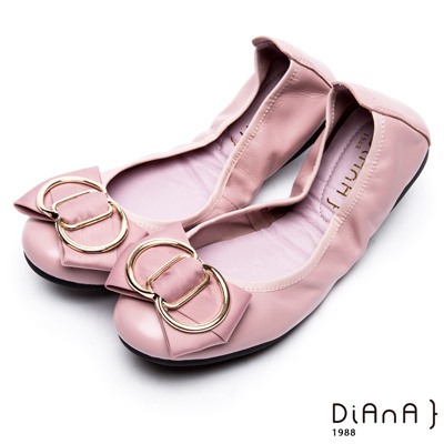 DIANA 心機折學—蝴蝶結x方鑽換釦真皮軟Q口袋鞋-芋粉
