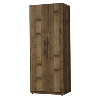 【AT HOME】美式輕工業2.5尺厚切木紋三門雙吊衣櫃(雀巢)-右
