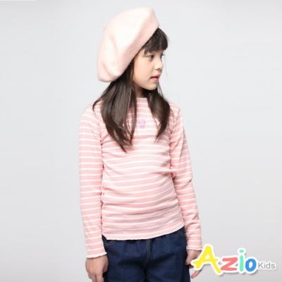 Azio Kids 女童 上衣 貓咪愛心印花坑條條紋長袖上衣 (粉)