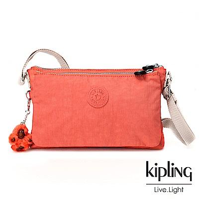 Kipling粉橘素面側背包小