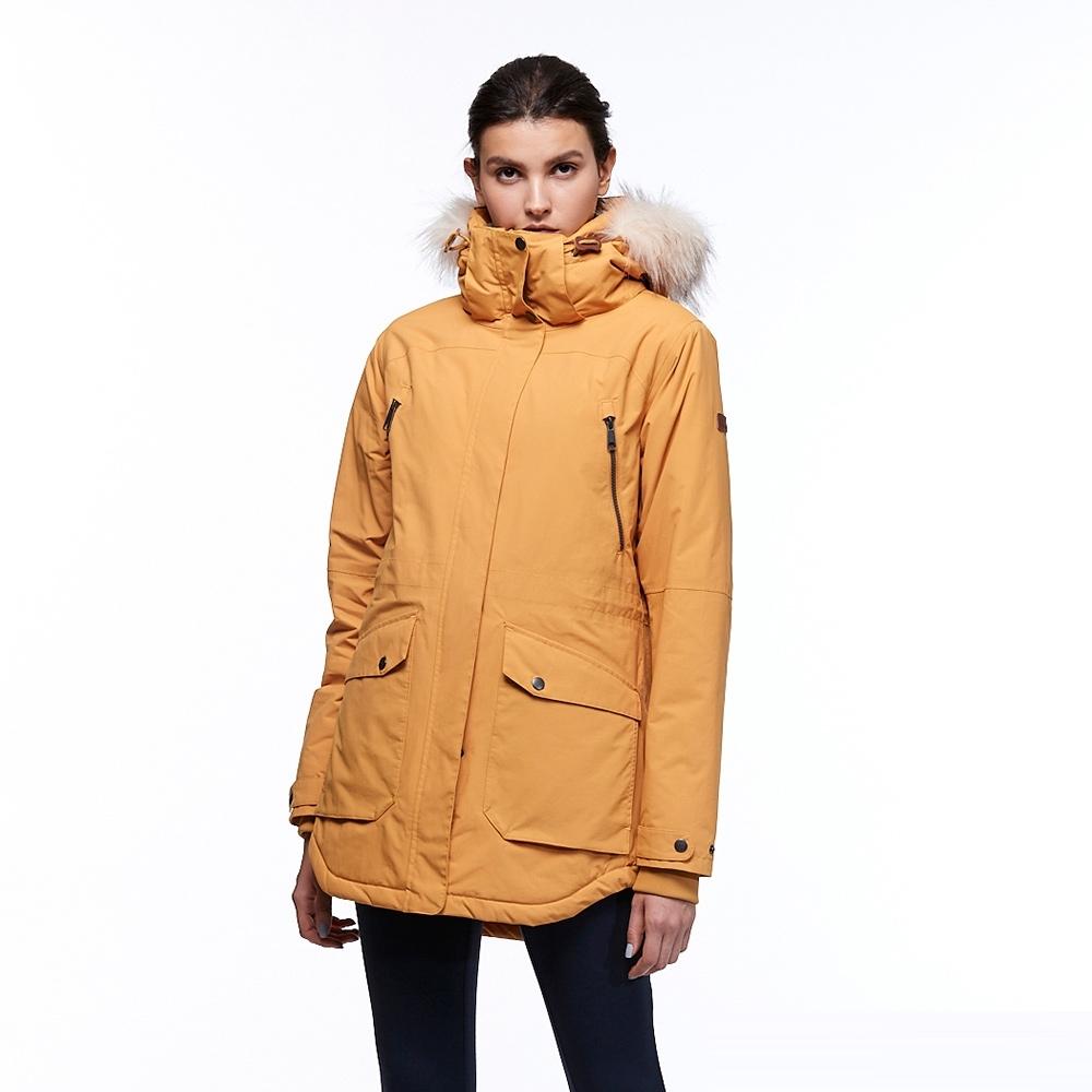 【HAKERS 哈克士】女 滑雪防水鋪棉外套(桔黃色)