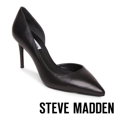 STEVE MADDEN-LESSONS1 素面尖頭側空高跟鞋-黑色
