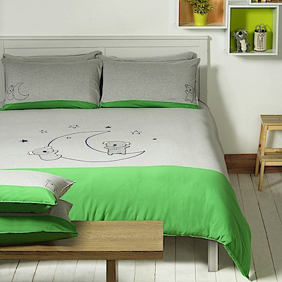 Yvonne Collection 無尾熊加大三件式被套組+壓縮枕一對 -暗灰/綠