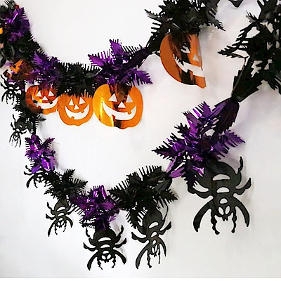 摩達客 萬聖節派對佈置裝飾-錫箔紫黑蜘蛛拉條 亮橘南瓜拉條拉花(兩入組)