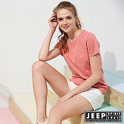 JEEP 女裝 滿版造型印花短袖TEE-粉色