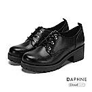 達芙妮DAPHNE 休閒鞋-復古英倫綁帶粗跟厚底休閒鞋-黑