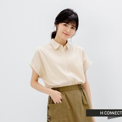 [時時樂]H-CONNECT 韓國品牌 女裝- 純色質感亞麻短袖襯衫-四色