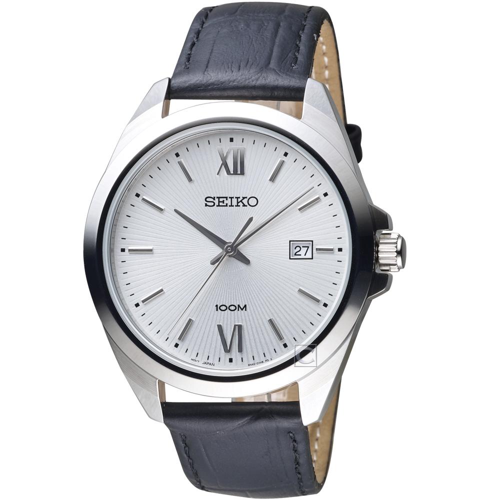 SEIKO精工永恆時尚紳士手錶(SUR283P1)-銀x黑皮