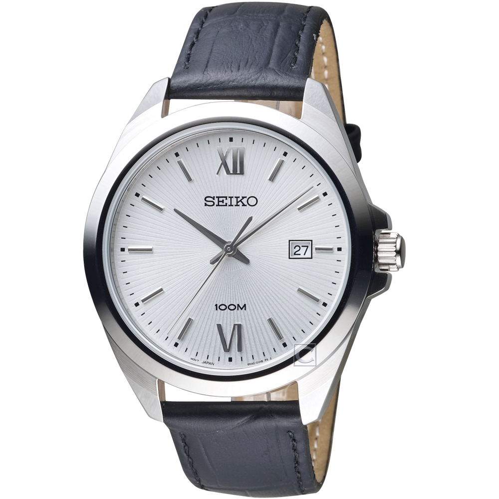 SEIKO 精工 永恆時尚紳士手錶(SUR283P1)黑皮/42mm