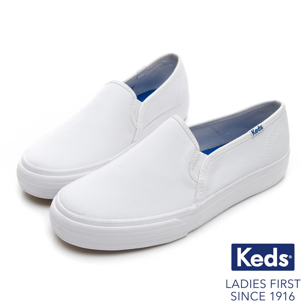 Keds 經典皮革舒適休閒便鞋-白