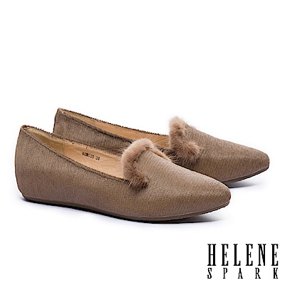 低跟鞋 HELENE SPARK 奢華暖意水貂毛設計全真皮樂福低跟鞋-可可
