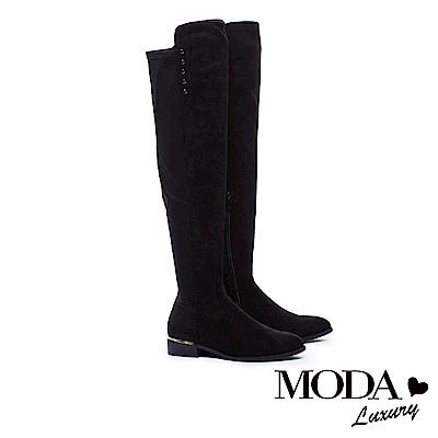 過膝靴 MODA Luxury 俐落純色異材質拼接排釦點綴粗跟過膝靴-絨布黑