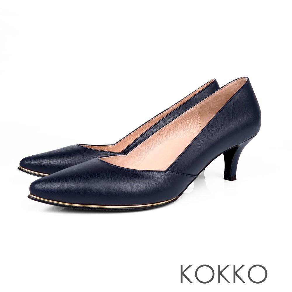 KOKKO女王品味尖頭鑲嵌金屬真皮高跟鞋法式藍