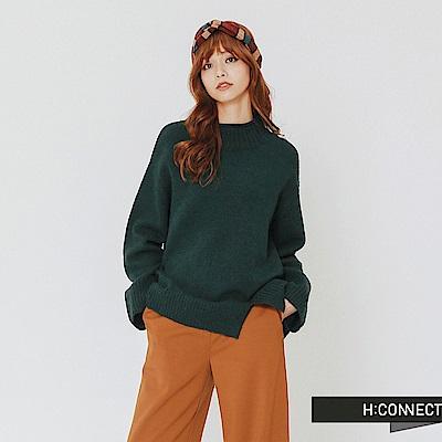 H:CONNECT 韓國品牌 女裝-開岔設計高領針織上衣-綠