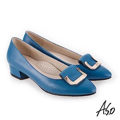 A.S.O 義式簡約 嚴選皮革高跟鞋 孔雀藍