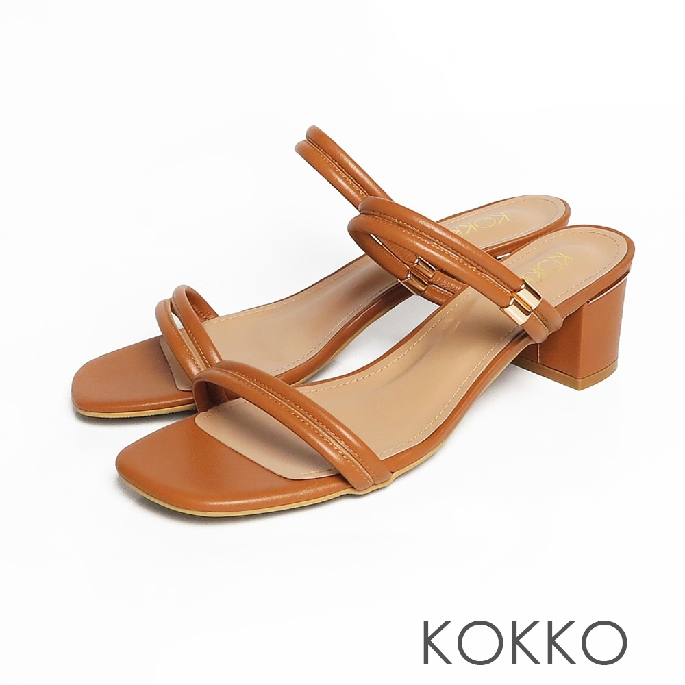 KOKKO方頭細條粗跟兩穿涼鞋泰奶棕