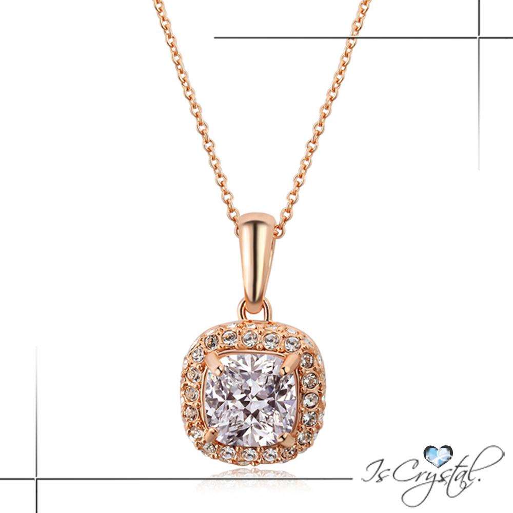 iSCrystal伊飾晶漾 晶耀方鑽 華麗歐風鋯石玫瑰金項鍊