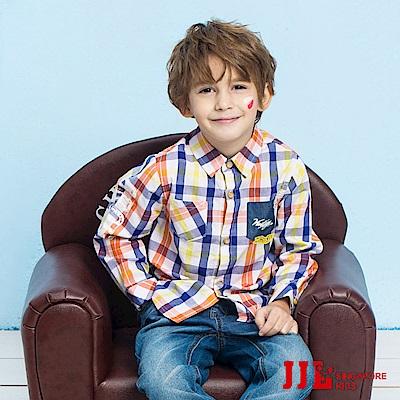 JJLKIDS  法國男孩格子純棉襯衫(橙色)